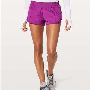 New lululemon purple hotty hot shorts